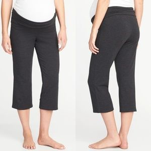 Old Navy Maternity Gray Roll-Over Yoga Crop Pants